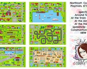 Northcott Connector Play Mat Panels: Around Town, Airport, Train Station, Harbor, Speedway, Construction - 2/3 Yard Panel - Choose Panel