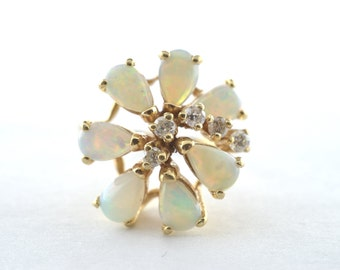 Vintage Opal and Diamond 14k Yellow Gold Ring - Size 5.75
