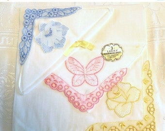 ON SALE 3 Vintage Handkerchiefs Cotton Blue Yellow Pink Flowers Butterfly NOS...Gifts Bride