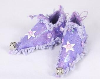 Fairy Shoes ornament lilac lavender faerie elf shoe miniature footwear fairy decoration holiday decor Christmas Ornament