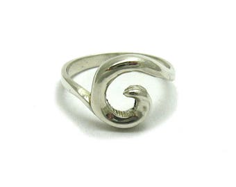 Plain sterling silver ring spiral solid 925 stylish pendant