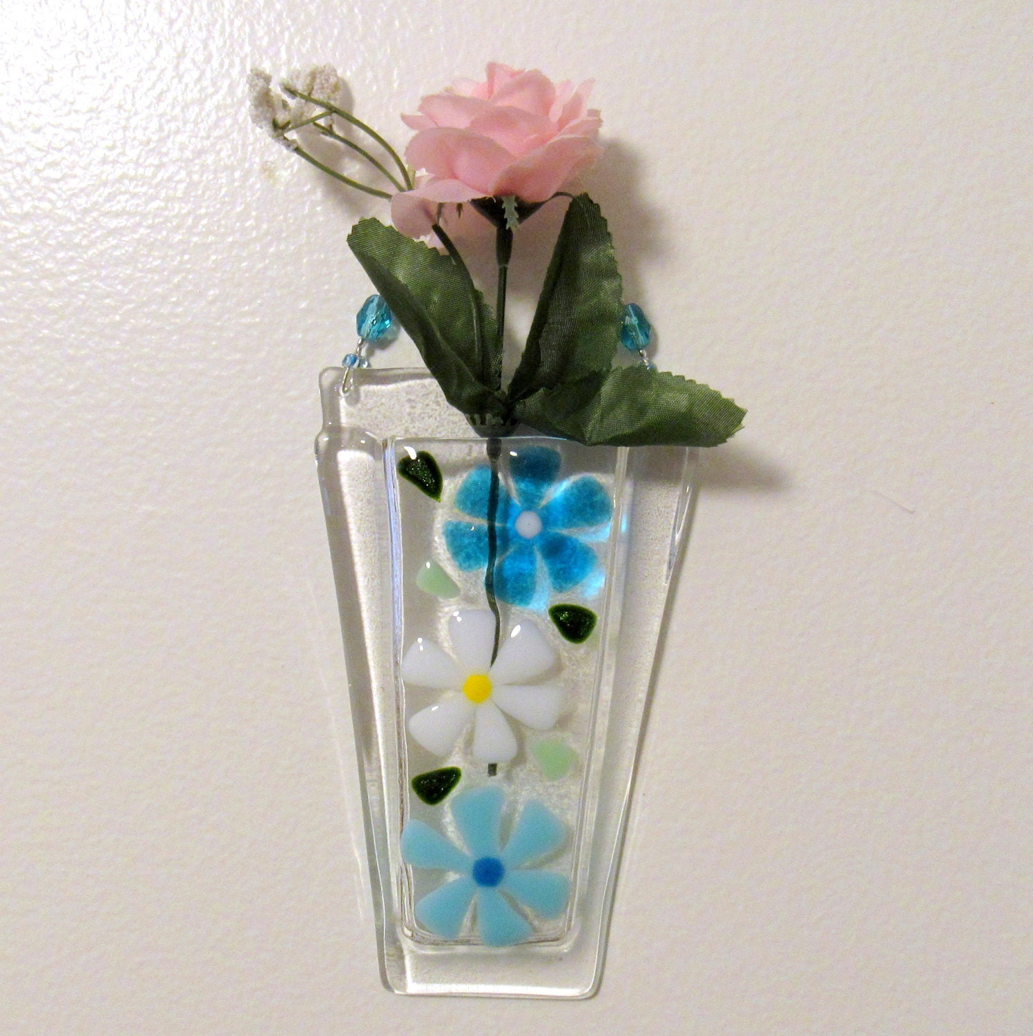 Wall vases for flowers - Fused Glass Wall Vase Glass Flower Vase Glass Wall Hanging Pocket Turquoise And White Flowers Mothers Day Flowers Vase Gift Glass Daisy