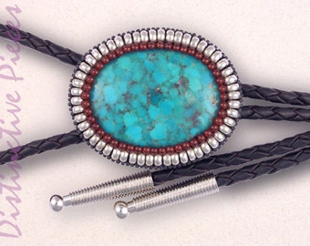Turquoise with Pewter and Carnelian Bolo Tie - Men's Bolo with Black Leather Cord , Classic Western Styling, Beadwork Embroidery, BO304054