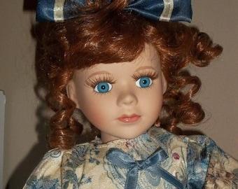 ETSYONSALE Dan Dee The Collector's Choice Series Porcelain Doll teddy bear Redhead blue eyes