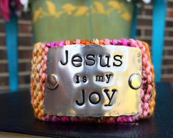Scripture Hand Stamped Cuff Bracelet, Jesus is My Joy Bracelet, Faith Jewelry Gift Under 50 for Her, Pink Orange Cuff