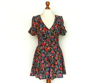 Vintage Romper Dress Playsuit Jumpsuit / Floral / Multicolor Black Red Blue Green / Short Sleeve / Summer / small