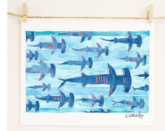 Boys Room Shark Art 'Hammerhead School'