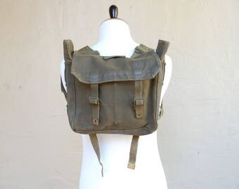 Vintage Army Green Military Combat Field Backpack Waxed Canvas Small Essential Hipster Biker Classic USA Ruck Sack Day Pack Summer Authentic