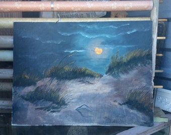 The Ocean By Moon Light Vintage Oil On Canvas Board Painting