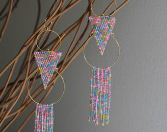 BonBon Candy Rainbow Seed Bead Fringe Gold Hoop Earrings