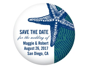 Save The Date Magnets for Beach Wedding, Destination Wedding, Blue and Teal with Starfish, 20 Pieces Per Order