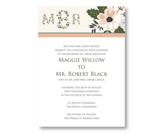Monogram Wedding Invitations with Flowers, Custom Printed with RSVP Cards and Envelopes, 20 Pieces Per Order