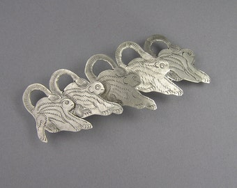 Engraved Monkey Barrette, Made in France, Silver Tone, Retro, Vintage Hair Clip, Wide