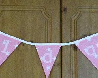 Baby bunting - custom name decor - nursery bunting -  personalised bunting - name fabric bunting - nursery bunting - letter bunting