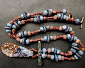 Contemporary earth bound necklace... urban primitive ....At Home In Taos beads and pendant, Picasso Czech beads..... truly one of a kind..
