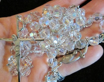 Vintage Crystal AF Co. Chapel Sterling Sterling Silver Religious Rosary Aurora Borealis Beads Religious Jewelry 25 1/2""
