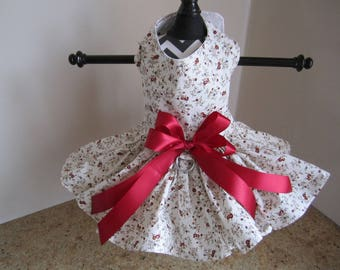 Dog Dress  Burgandy Little flowers