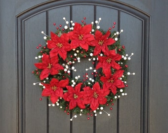 READY TO SHIP Christmas Wreath-Pine Wreath- Holiday Wreath-Red Poinsettia-White Red Berries-Indoor/Outdoor Decor