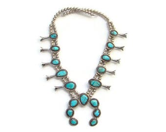 Native American Navajo Morenci Turquoise Squash Blossom Necklace Sterling Silver Graduated Blossoms and Stones 24 Inch