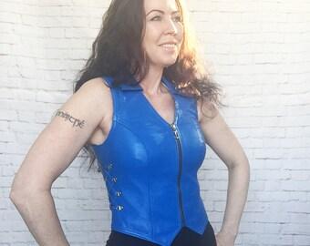 Vintage 80s Blue Leather Side Lace-Up Front Zipper Vest XS S Biker Western Hippie Festival Top