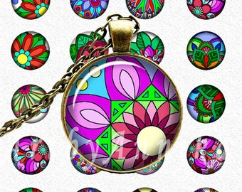 Digital Collage of Mandalas are bright - 1 Inch and 18mm