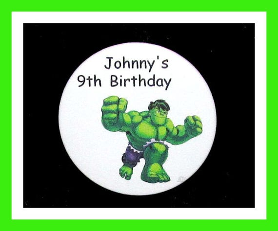 Birthday Party Favor Personalized Button, Hulk Pin Favor,School Favor,Kid Party Favor,Boy Birthday,Girl BirthdayPin,Favor Tag Set of 10