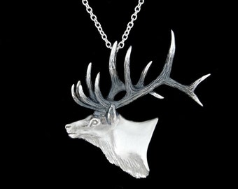 Sterling Silver Bull Elk Pendant or Necklace (Optional Chain)