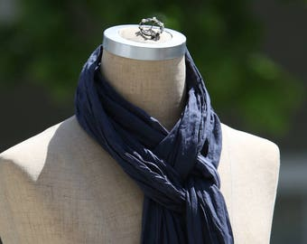 Cotton Voile Summer Scarf, Lightweight Summer Accessory, Sheer Cotton Scarf, Steel Blue Scarf, Pure Cotton, Boho, Natural Fiber, Long Scarf