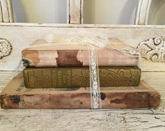 Pretty Farmhouse Tattered Book Stack  - Rustic Home Decor - Library Wedding - Antique, One of a Kind Decor