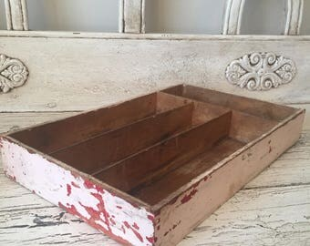 Vintage  pink/red  Wooden Tray  -  Green Divided Catchall -  Silverware Flatware Drawer