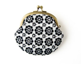 Metal frame coin purse // Embroidered Black Flowers