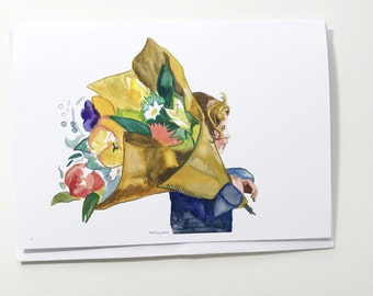 Bringing home flowers, 5x7 card, Ready to Ship greeting card