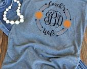 Coach's wife basketball monogram - woman's graphic t-shirt - basketball wife shirt