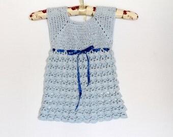Light Blue Crocheted Dress for 12-18 months' girl Baby Dress crochet dress baby girl