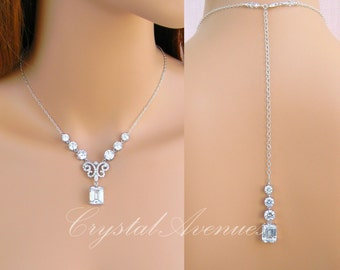 Bridal Necklace, Backdrop Crystal Wedding Necklace, Bridal earrings, Jewelry Set, Bridesmaids Jewelry Set, Kaitlyn Crystal Drop Set