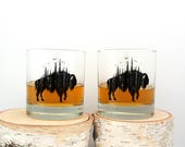 Rock Glasses - Buffalo and Forest Illustration - Screen Printed Glassware Set