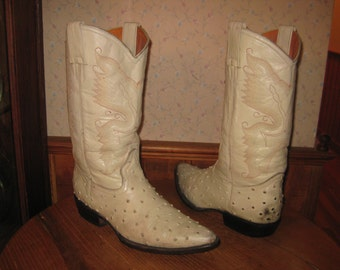 JAR  BOOT'S      Ostrich  Embossed Leather    Cowboy Boots    Handcrafted In Mexico     Mens  8  D