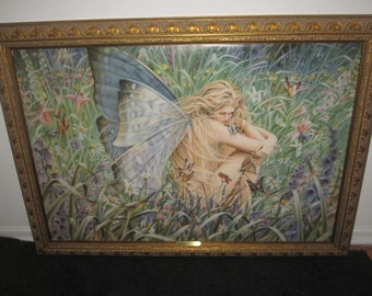 SHEILA WOLK rare art print on canvas field of dreams VINTAGE framed usa