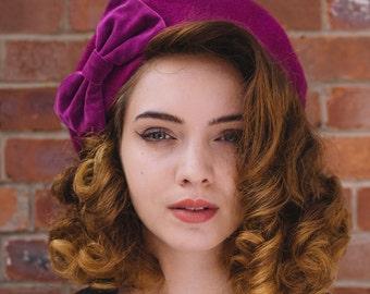 Magenta Hat, Magenta Beret Hat with Purple Velvet Bow, , Purple Wool Beret Hat, Purple Felt Beret Hat, Purple French Beret Hat