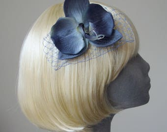 Blue Flower Hair Comb, Blue Orchid Hair Comb, Blue Hair Flower, Blue Hair Orchid, Blue Hair Accessory, Blue Orchid Headpiece