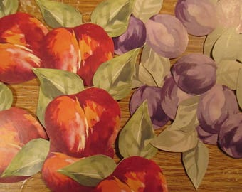 15 Paper Apples Plums Appliques Stickers Adhesives Decoupaging Paper Crafts Scrapbooking Red Apples Purple Plums Decoupage Gummed Backing