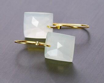 Moonstone 14k Gold Dangle by Agusha. White Moonstone Earrings. Solid Gold White Moonstone Earrings