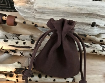 Men's Bag Leather Drawstring Pouch Bag -  Brown Nubuck Leather - Medium Size