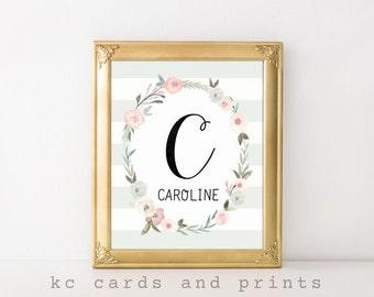 Nursery Monogram Art, Caroline, Kid's Room Decor, Nursery Art, Baby Name Signs, Nursery Print, Baby Girl Nursery, Digital Print