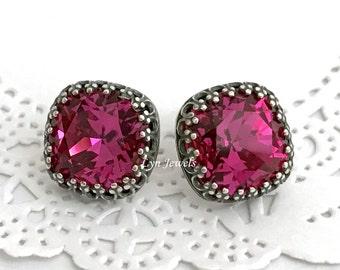 Pink FUCHSIA Earrings, Fuchsia Swarovski Crystal Earrings, Magenta Cushion Stud Earrings Antique Silver Vintage Estate Style Earrings