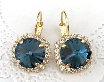 MONTANA Blue Earrings // Navy Blue 12mm Swarovski Crystal Earrings // Sapphire Wedding Crystal Halo Earrings // Blue Bridesmaids  Earrings