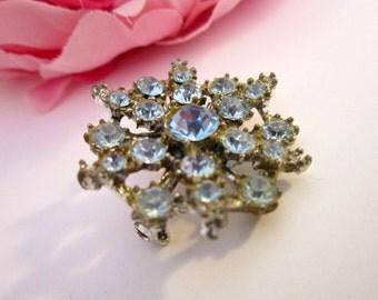 Jewelry, brooch, blue rhinestone brooch, pin, mother of bride brooch, dress brooch, timelesspeony
