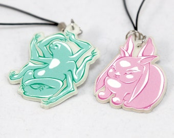 Sloth and Bunny Animals Glow in the Dark Acrylic Charms