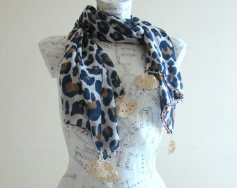 Summer scarf scarf cotton leopard print scarf crochet pareo wrap beach pareo fashion scarf summer scarfs crochet edge rectangular scarf