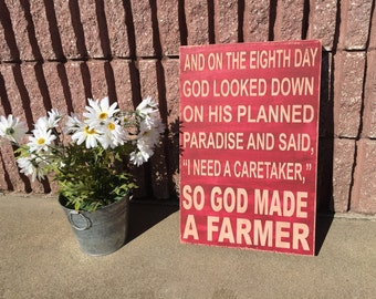 So God Made A Farmer - Paul Harvey Quote - green and yellow - great Christmas gift